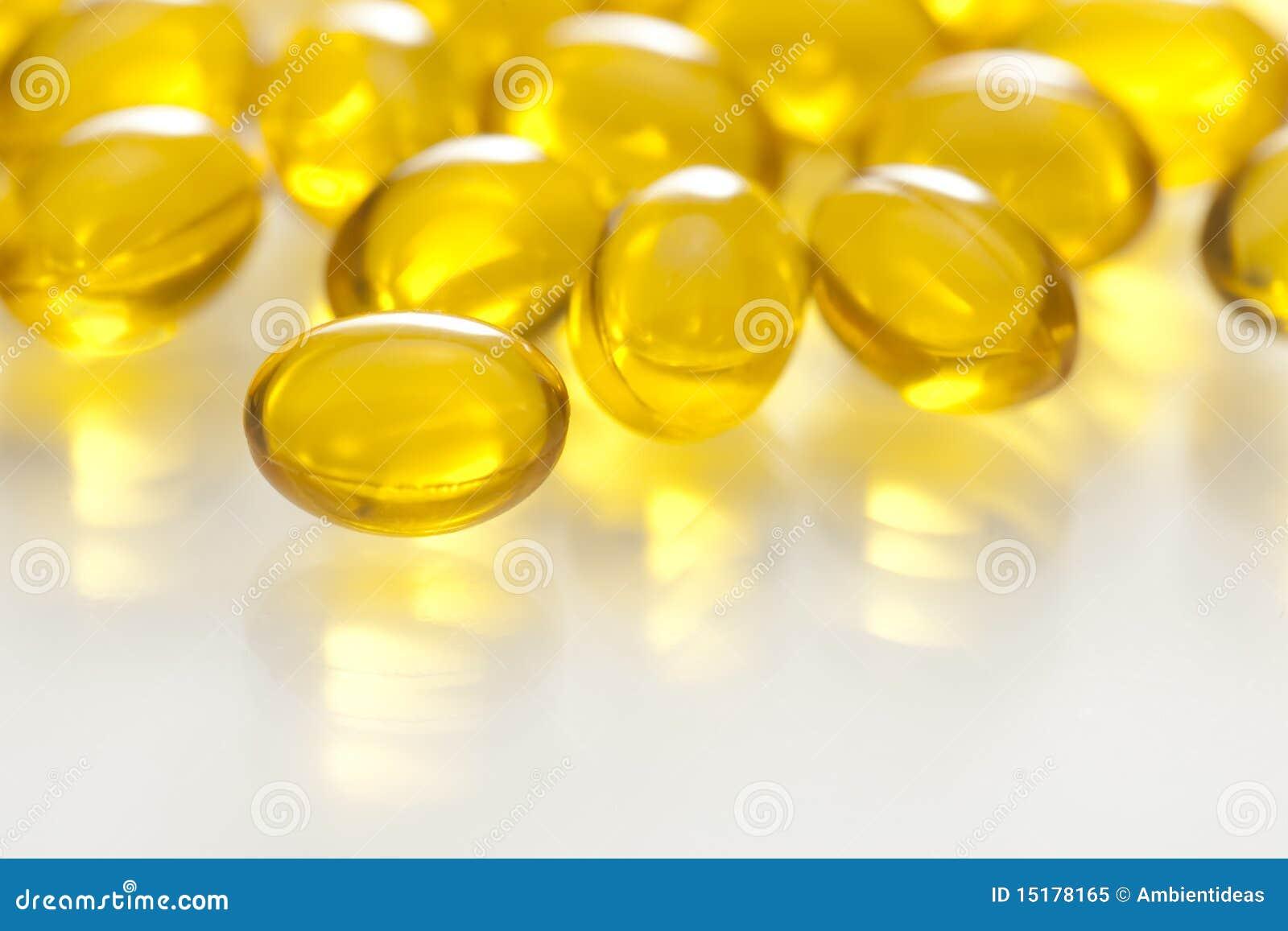 Yellow Gel Capsule Pill Royalty Free Stock Photo - Image
