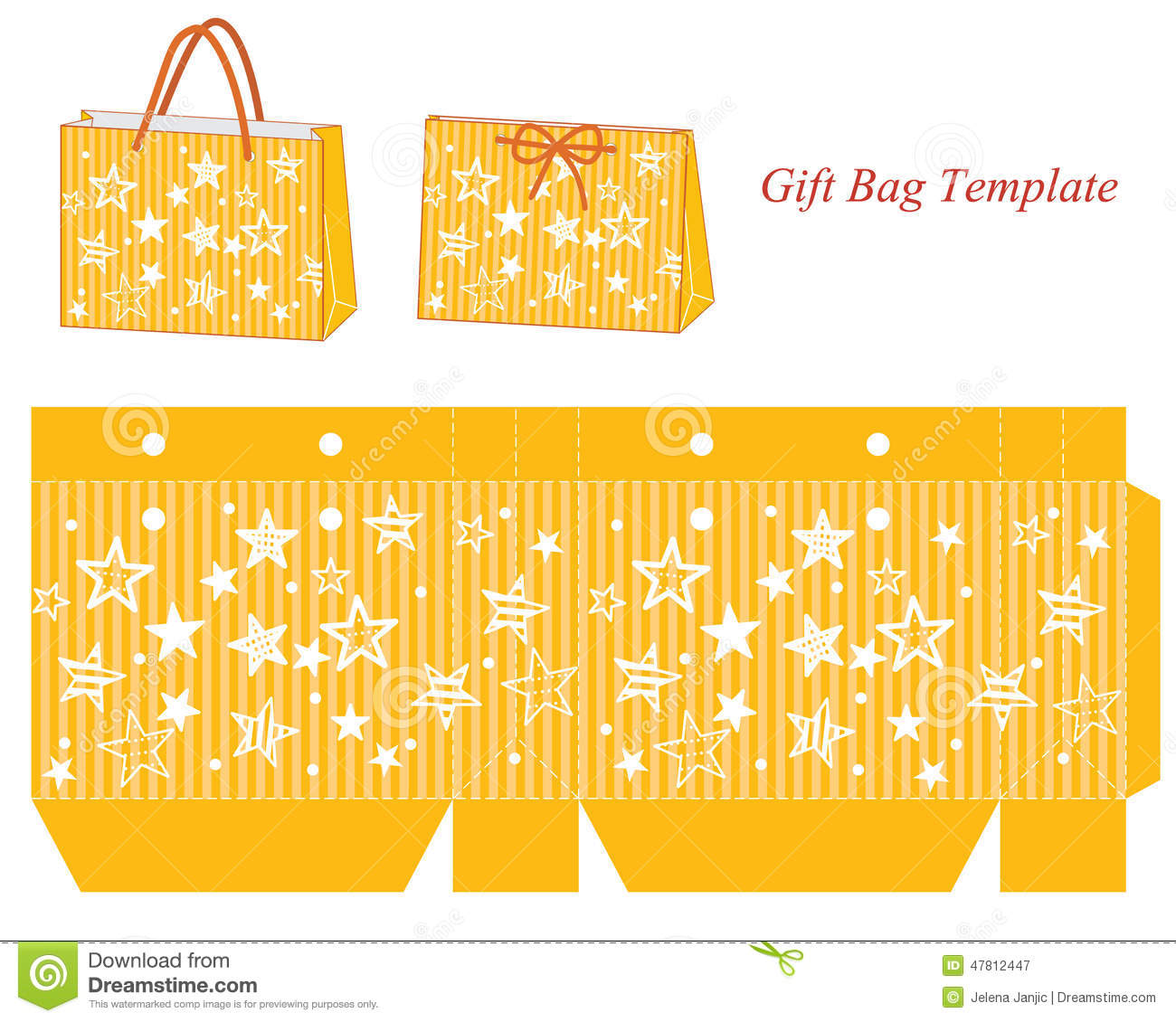 Yellow gift box with stars. Vector illustration of a bag and bag ...