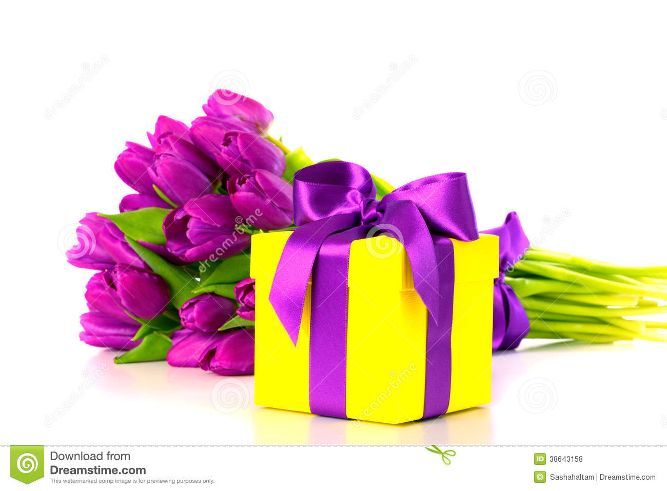 Yellow Gift Box With Bouquet Of Purple Tulips Royalty Free