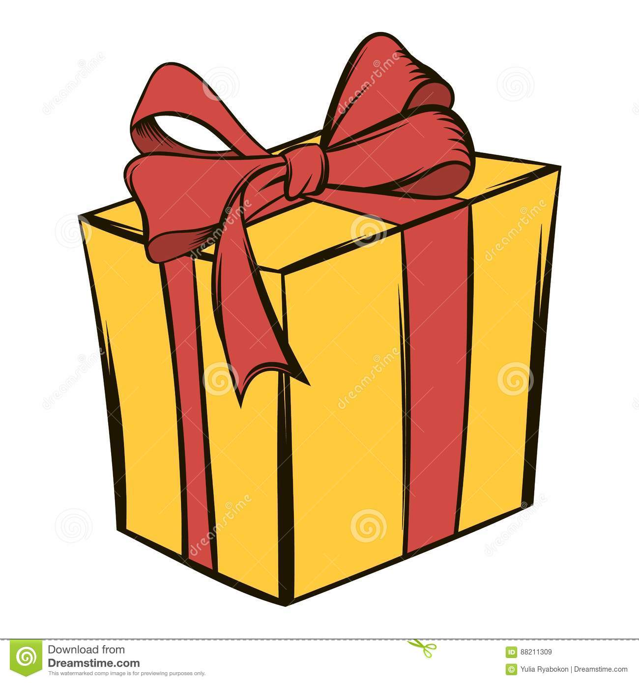 Yellow gift box with a red ribbon icon cartoon stock