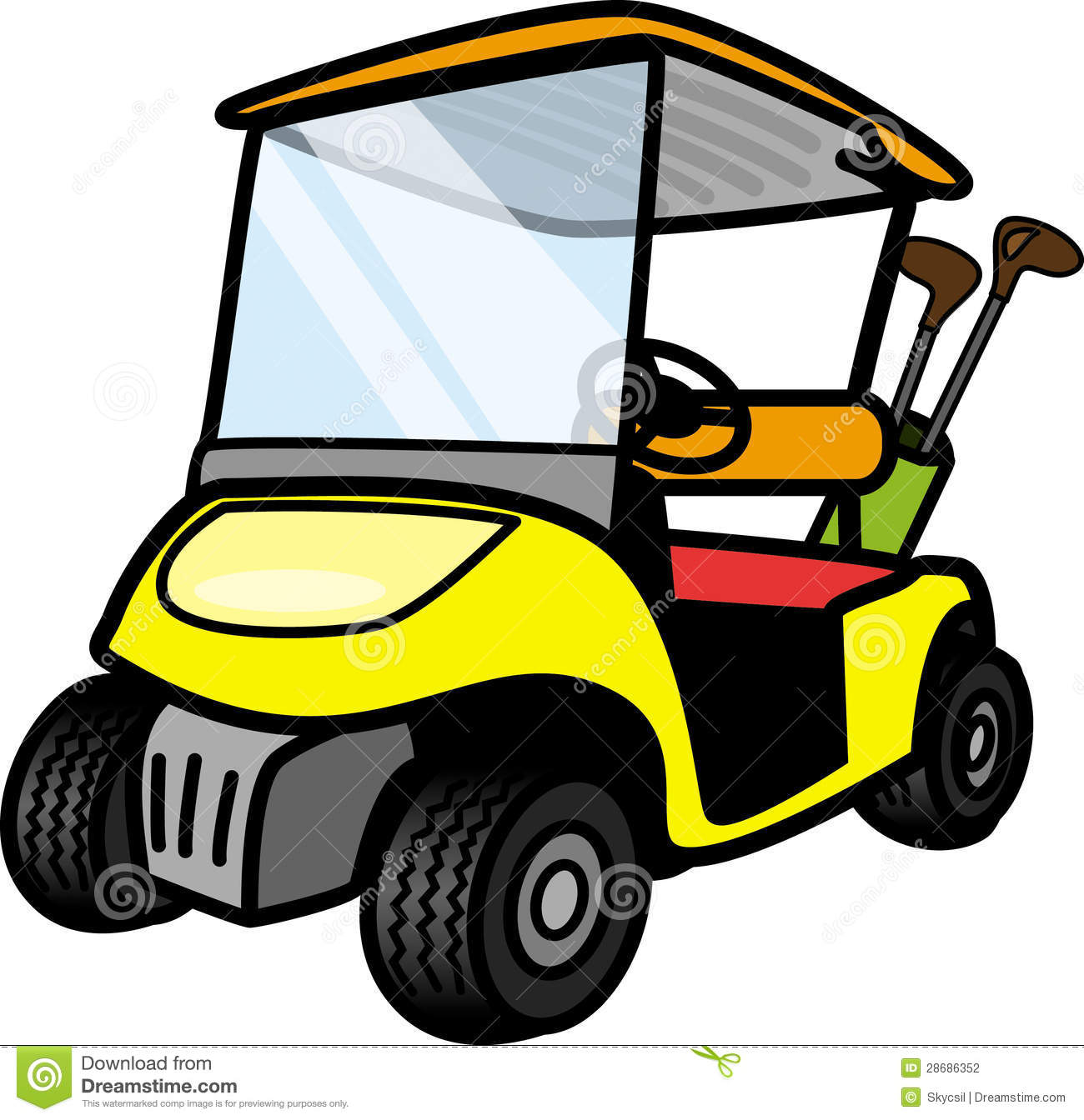 Yellow Golf Cart Stock Vector Illustration Of Lime Small 28686352