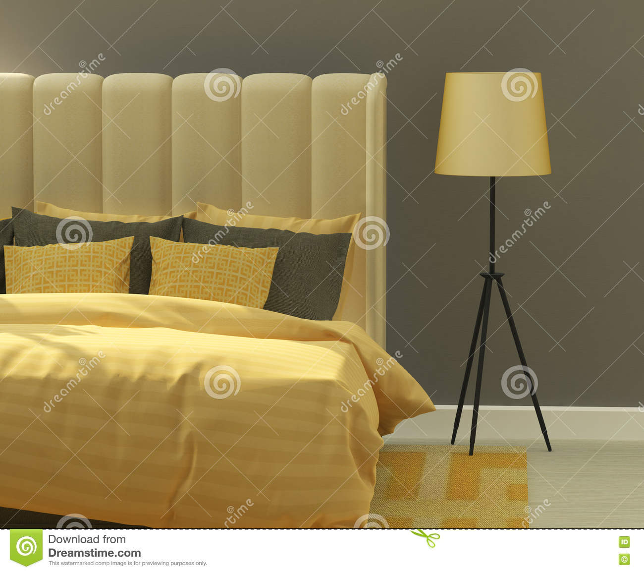 Yellow and gray bedroom stock image. Image of lounge - 74954129