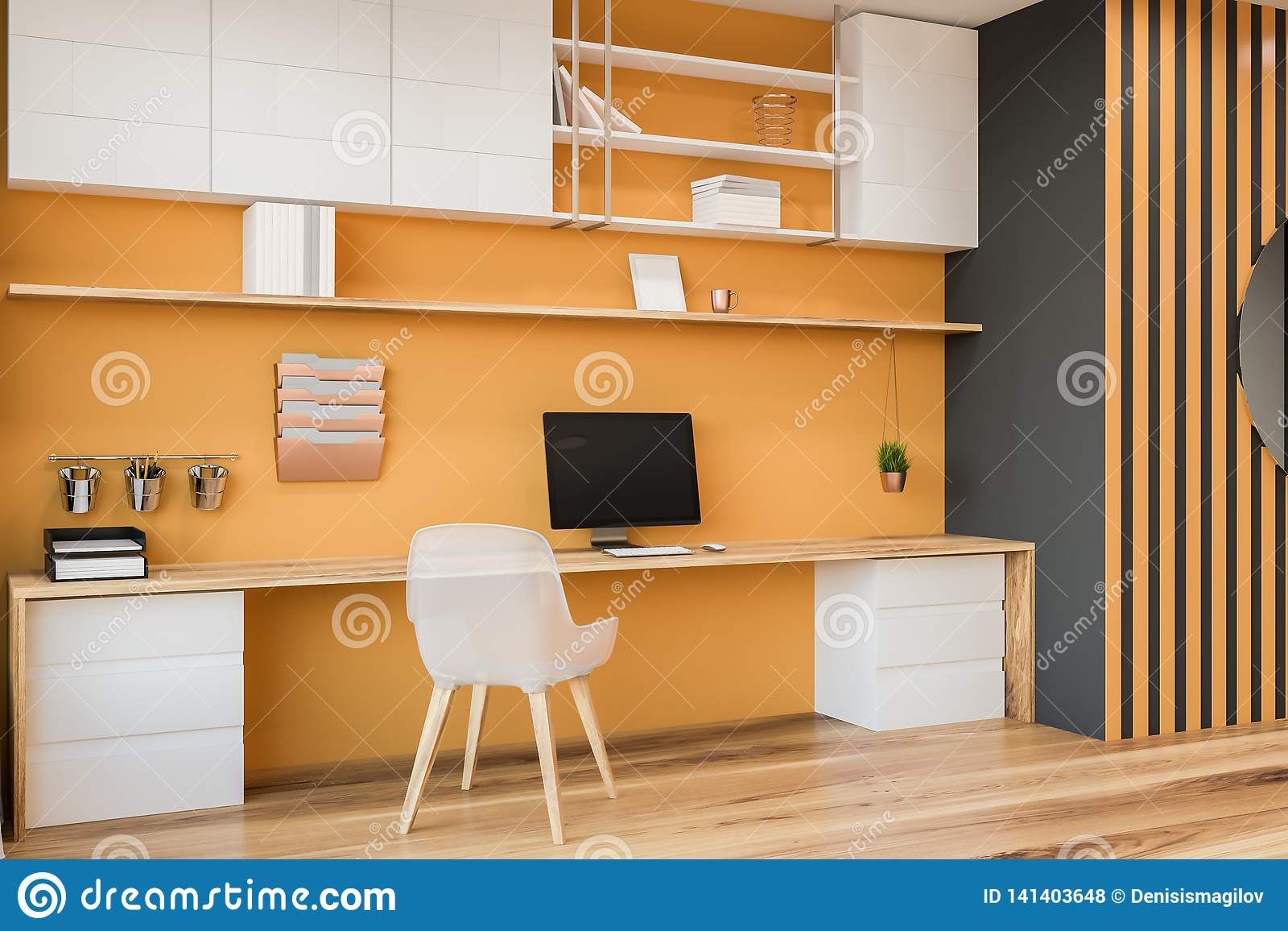 Yellow And Gray Home Office Interior, Blurred Stock ...