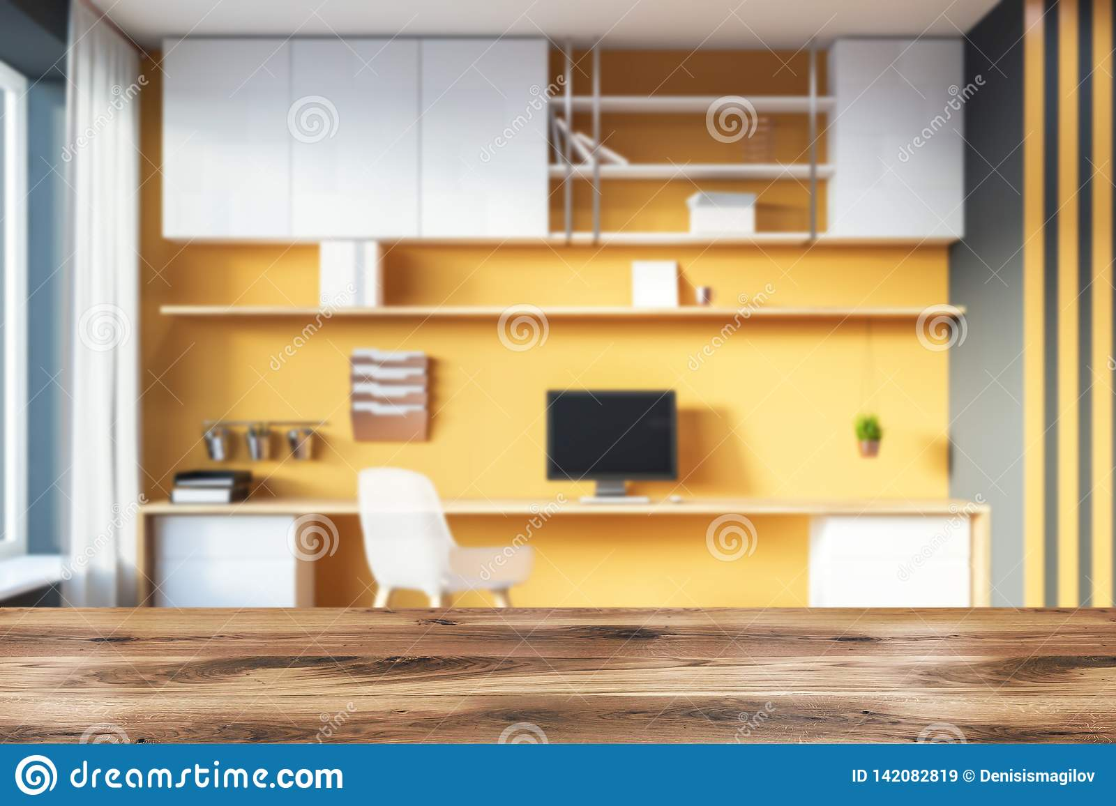Yellow And Gray Home Office Corner Stock Illustration ...