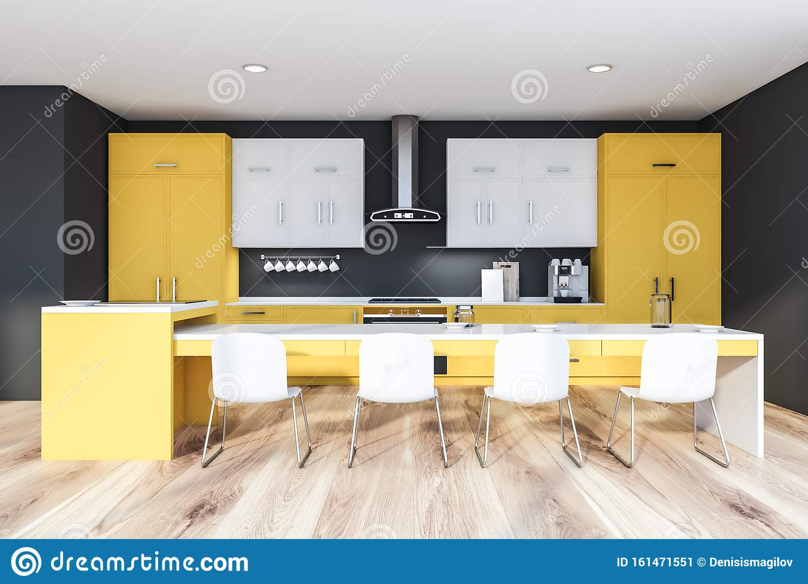 Yellow And Gray Kitchen With Long Table Stock Illustration