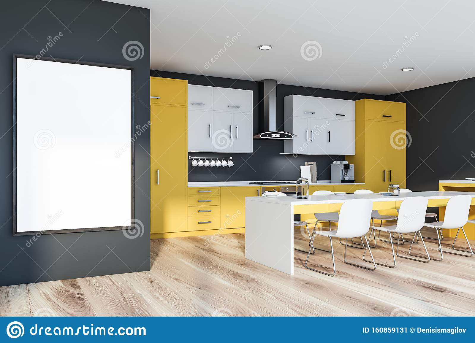Yellow And Gray Kitchen With Mock Up Poster Table Stock Illustration Illustration Of Clean Grey 160859131