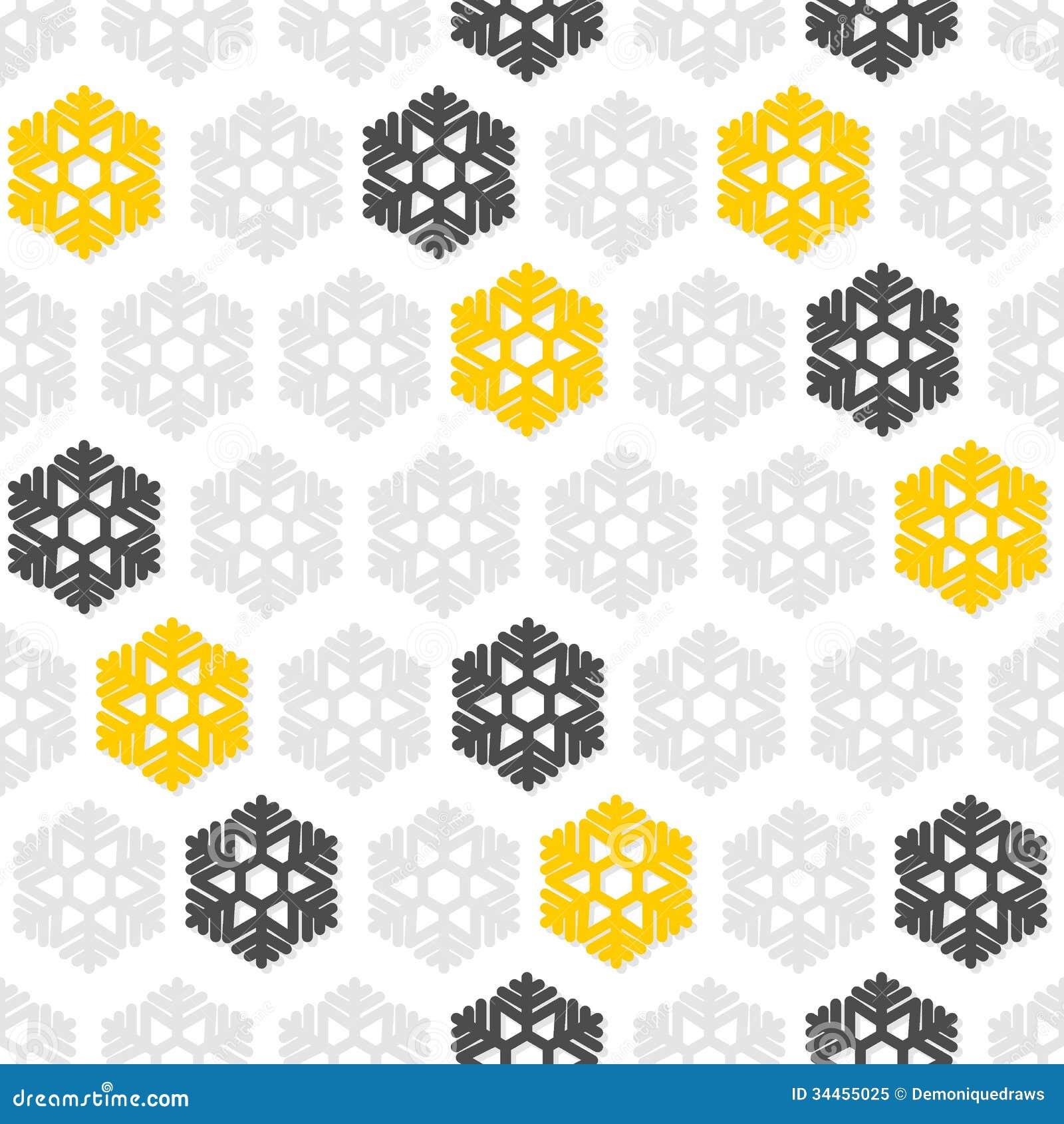 Yellow Gray Snowflakes...
