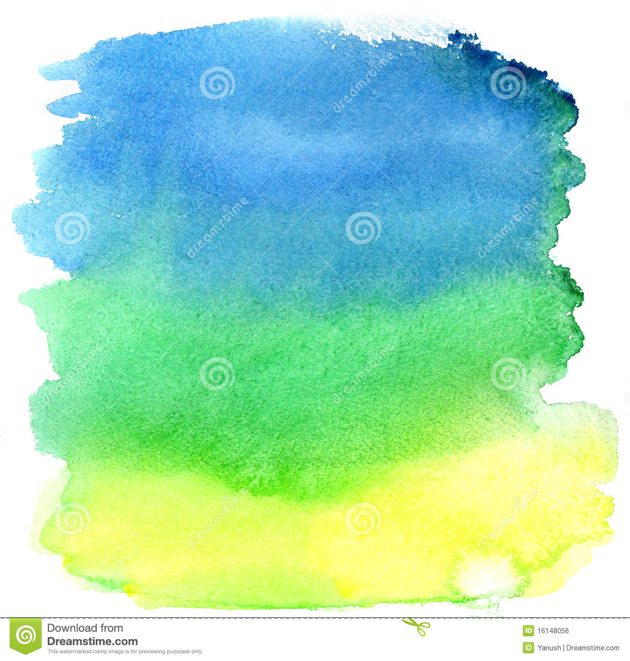 yellow  green and blue watercolor brush strokes royalty