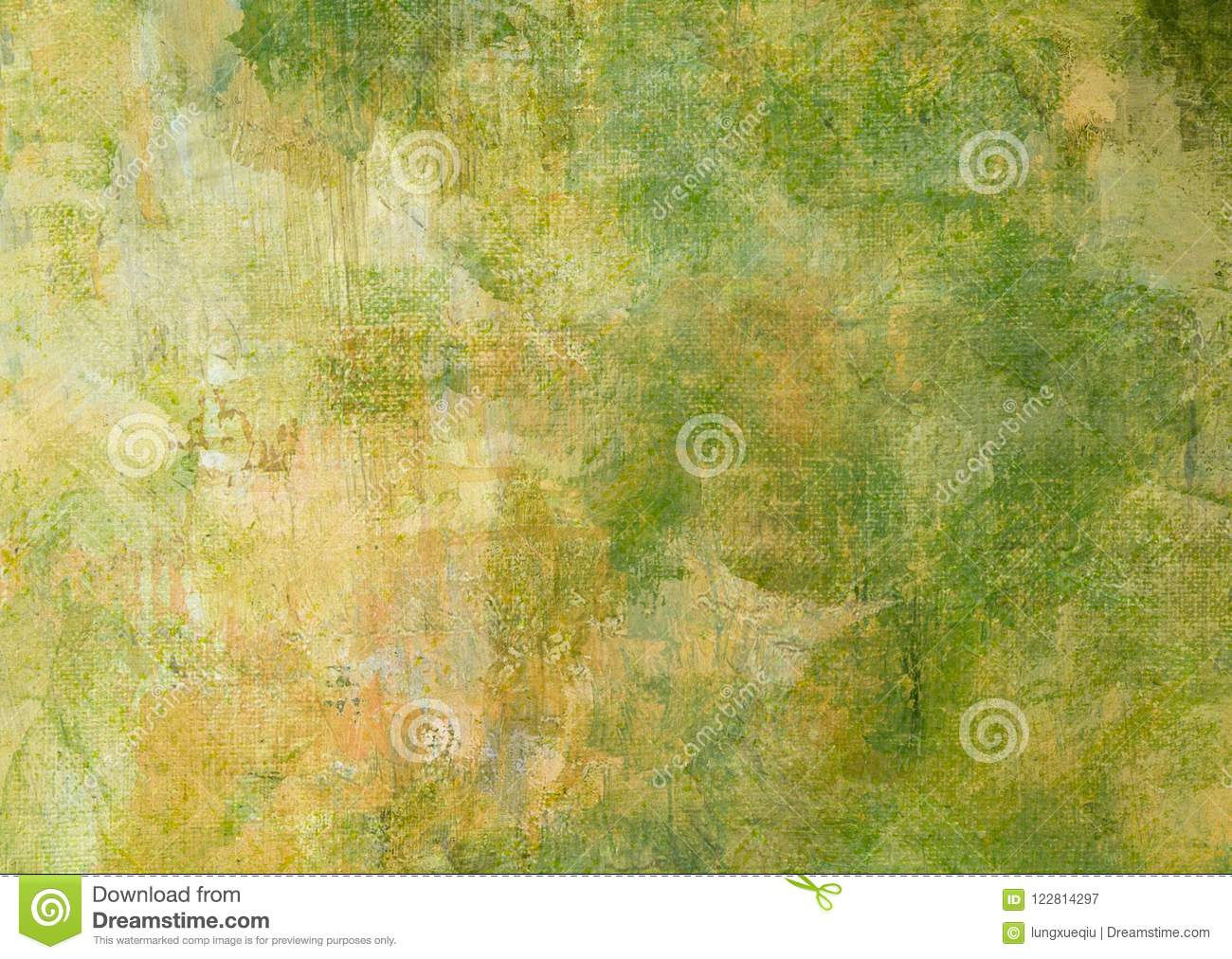 Yellow Green Brown Dark Canvas Abstract Painting Grunge Dark Rusty Distorted Decay Old Texture for Autumn Background Wallpaper