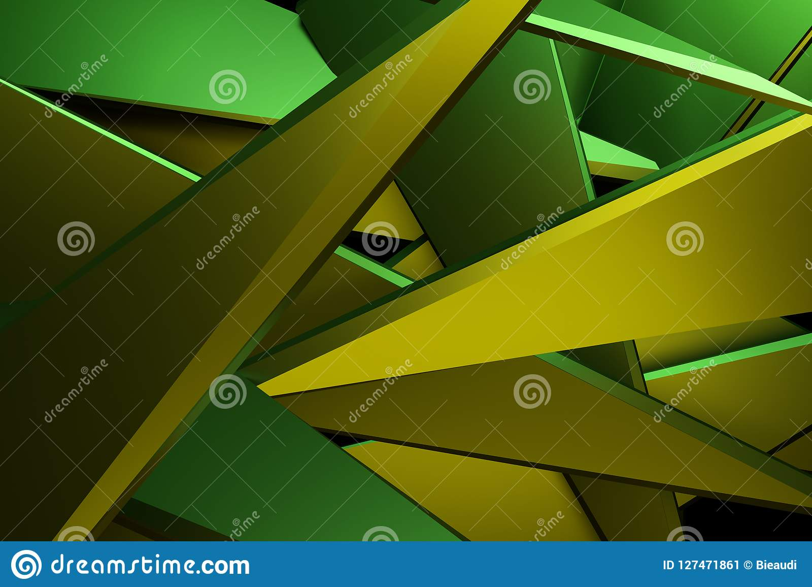 Yellow And Green Color Abstract 3d Rendering Technology Backgrou ...