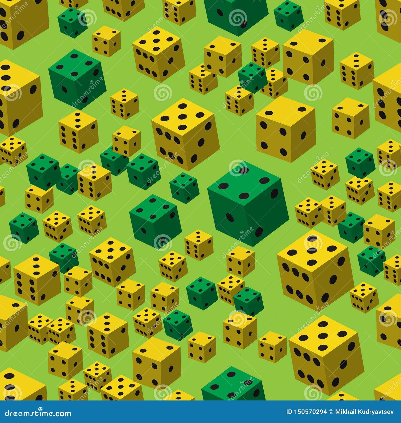 Yellow Green Dice Seamless Pattern, 3D illustration