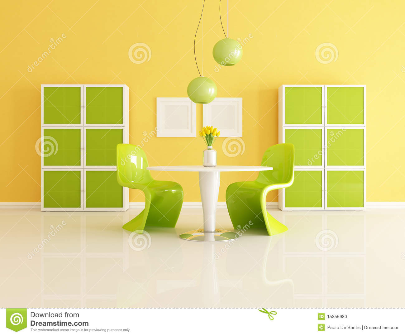 Yellow And Green Dining Room Stock Photo - Image: 15855980