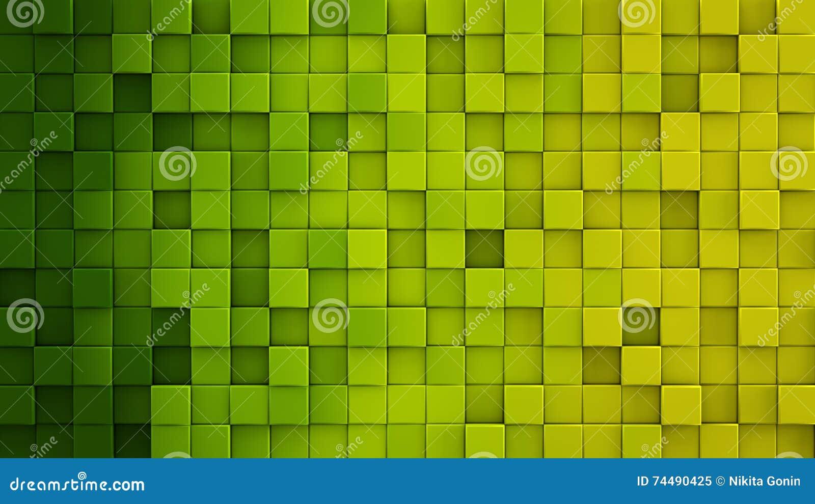 Yellow green gradient cubes 3D render