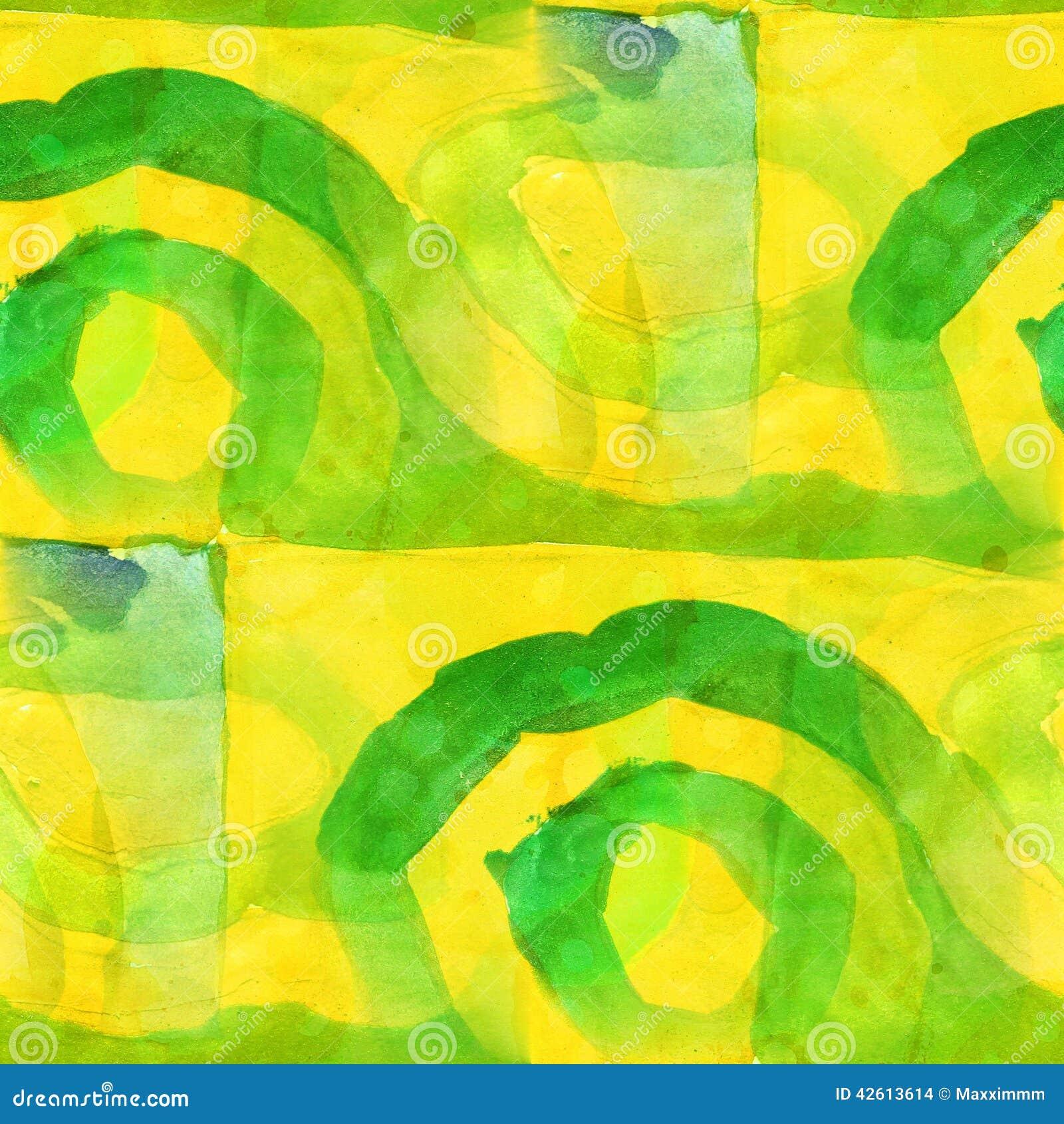 Yellow Green Pattern Design Seamless Watercolor Stock Illustration