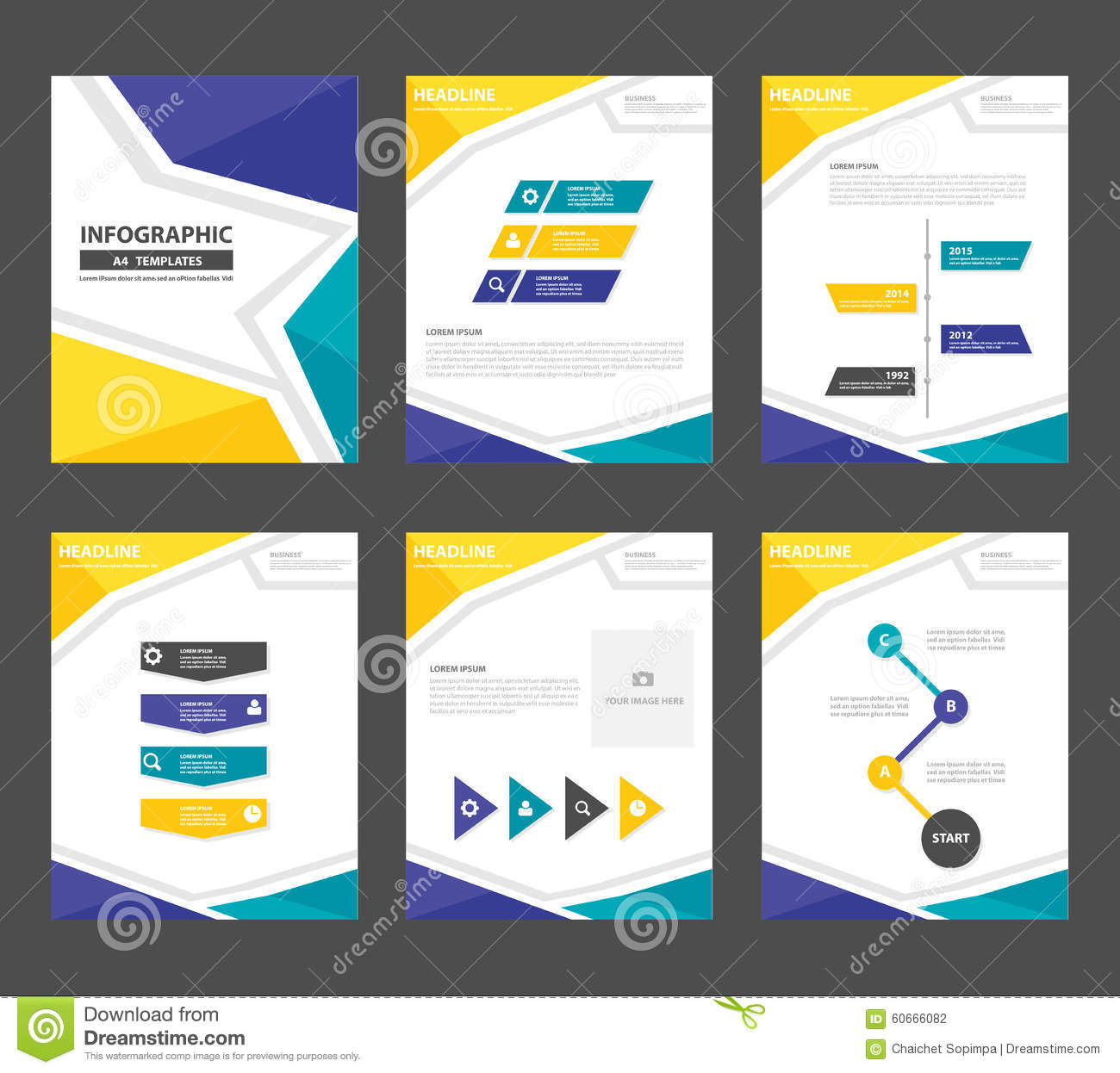 yellow green presentation template annual report brochure flyer, Report Presentation Template, Powerpoint templates