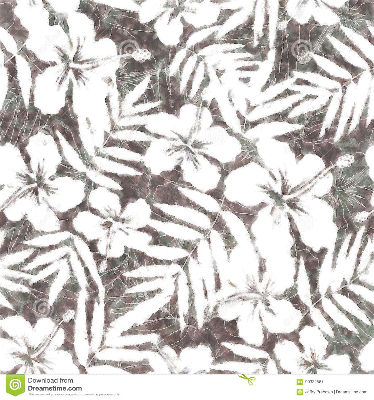Yellow Green White And Gray Tropical Flowers Silhouettes Pattern