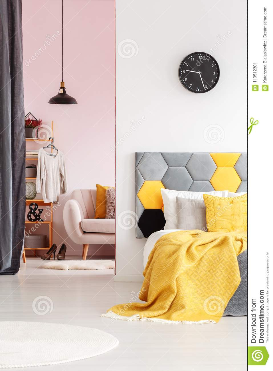 Yellow And Grey Bedroom Interior Stock Image - Image of ...