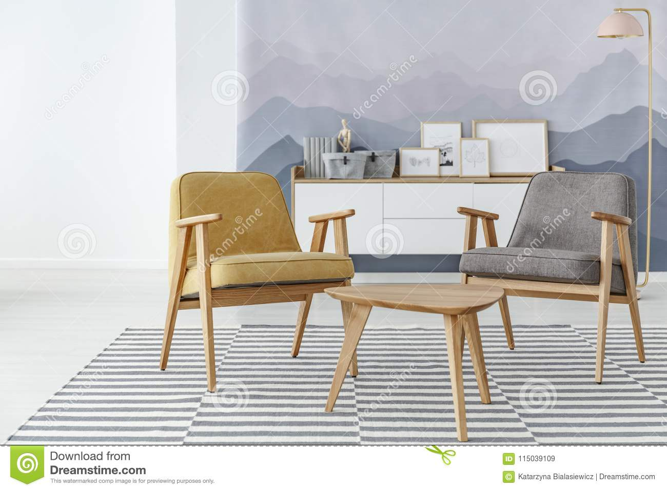 Yellow And Grey Living Room Stock Image - Image of living, table ...