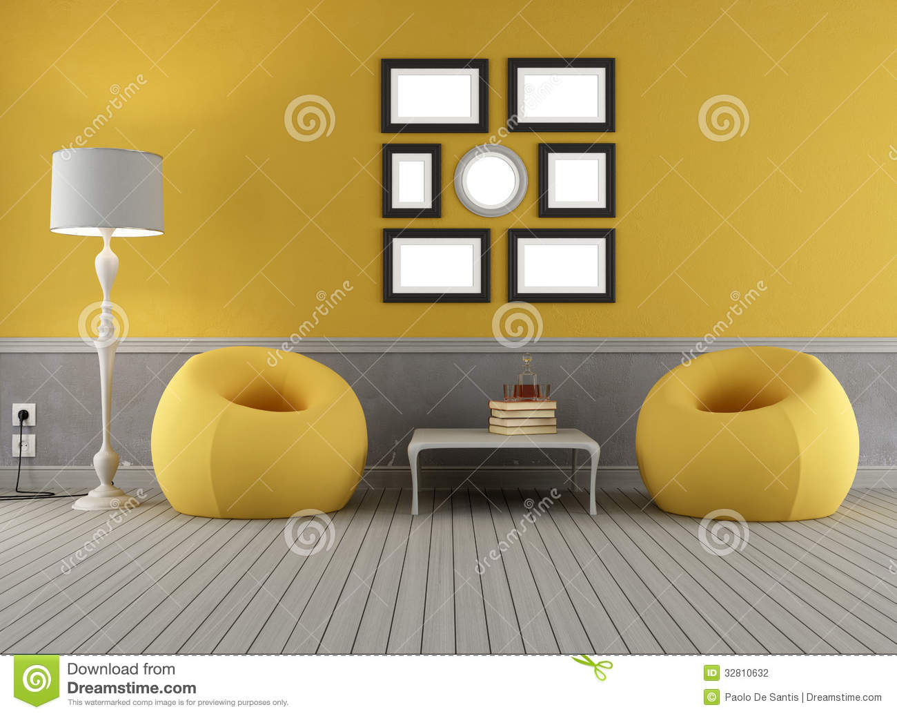 yellow and grey old interior stock photography image 32810632. Black Bedroom Furniture Sets. Home Design Ideas