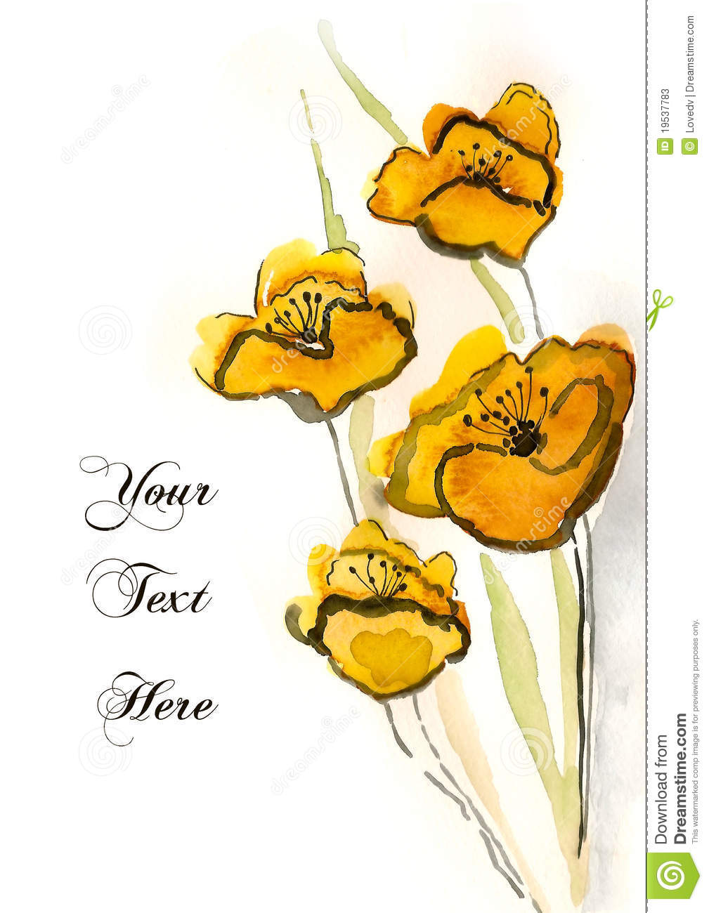 Yellow Hand Painted Flowers Stock Illustration