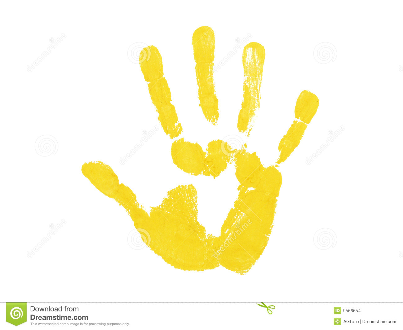 Yellow hand print isolated over white background.
