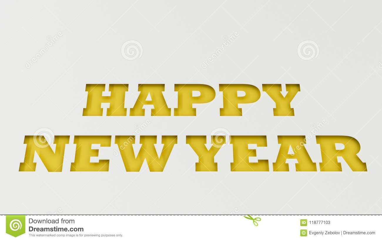 Yellow Happy New Year Words Cut In White Paper Stock Illustration ...