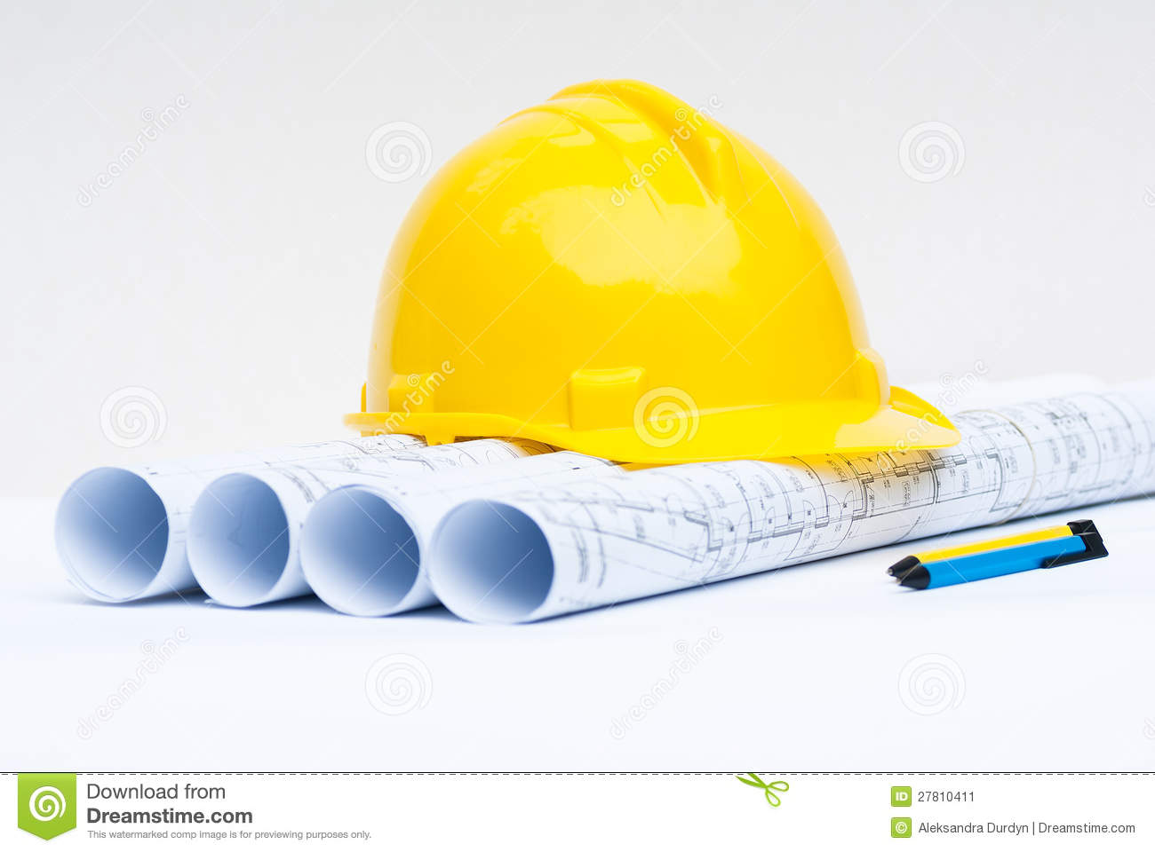 Design House Blueprint Free Yellow Hard Hat And Construction Plans Stock Image Image