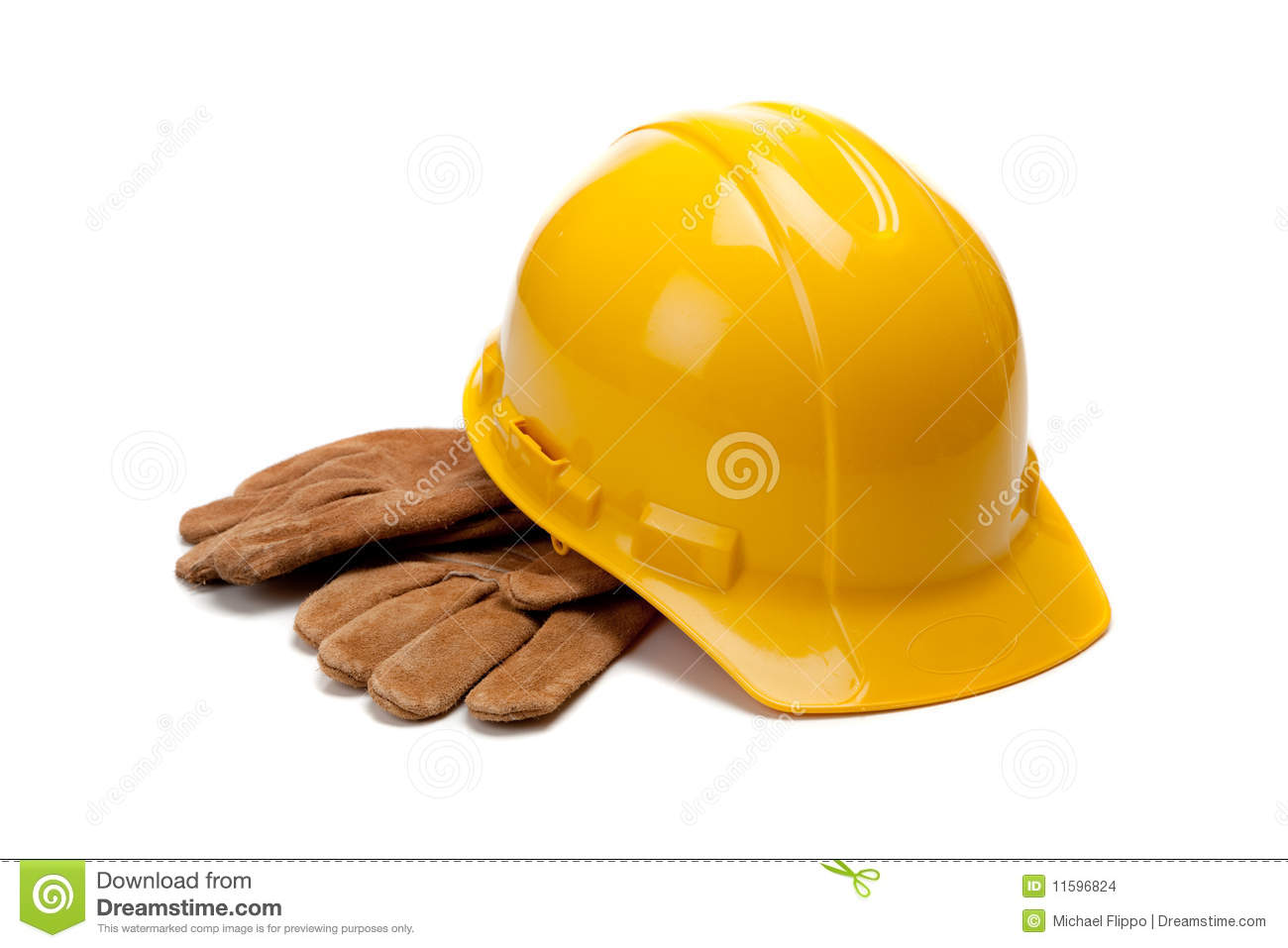 A yellow hard hat and leather work gloves on white