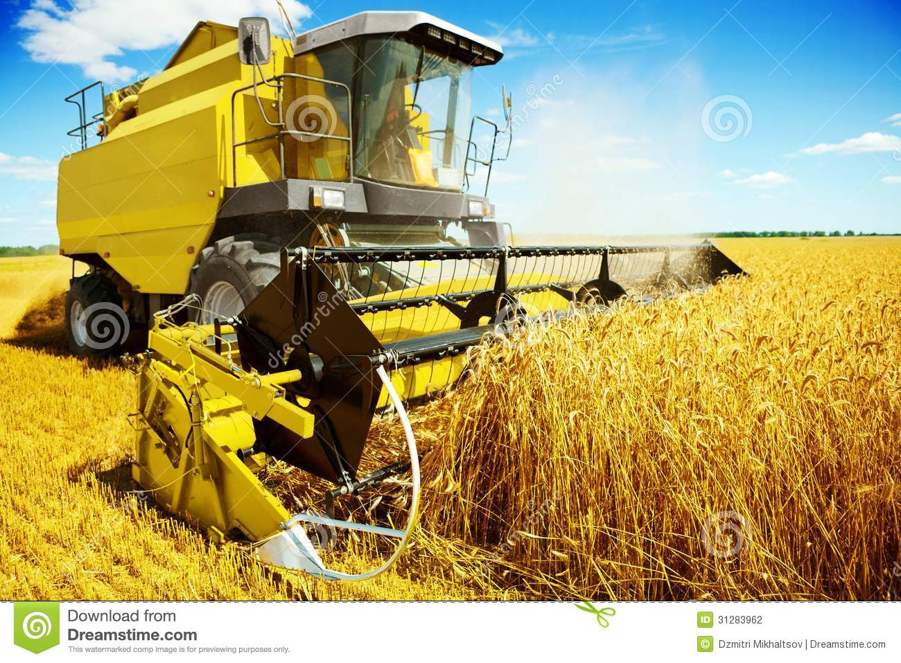 An Yellow Harvester In Work Stock Photo