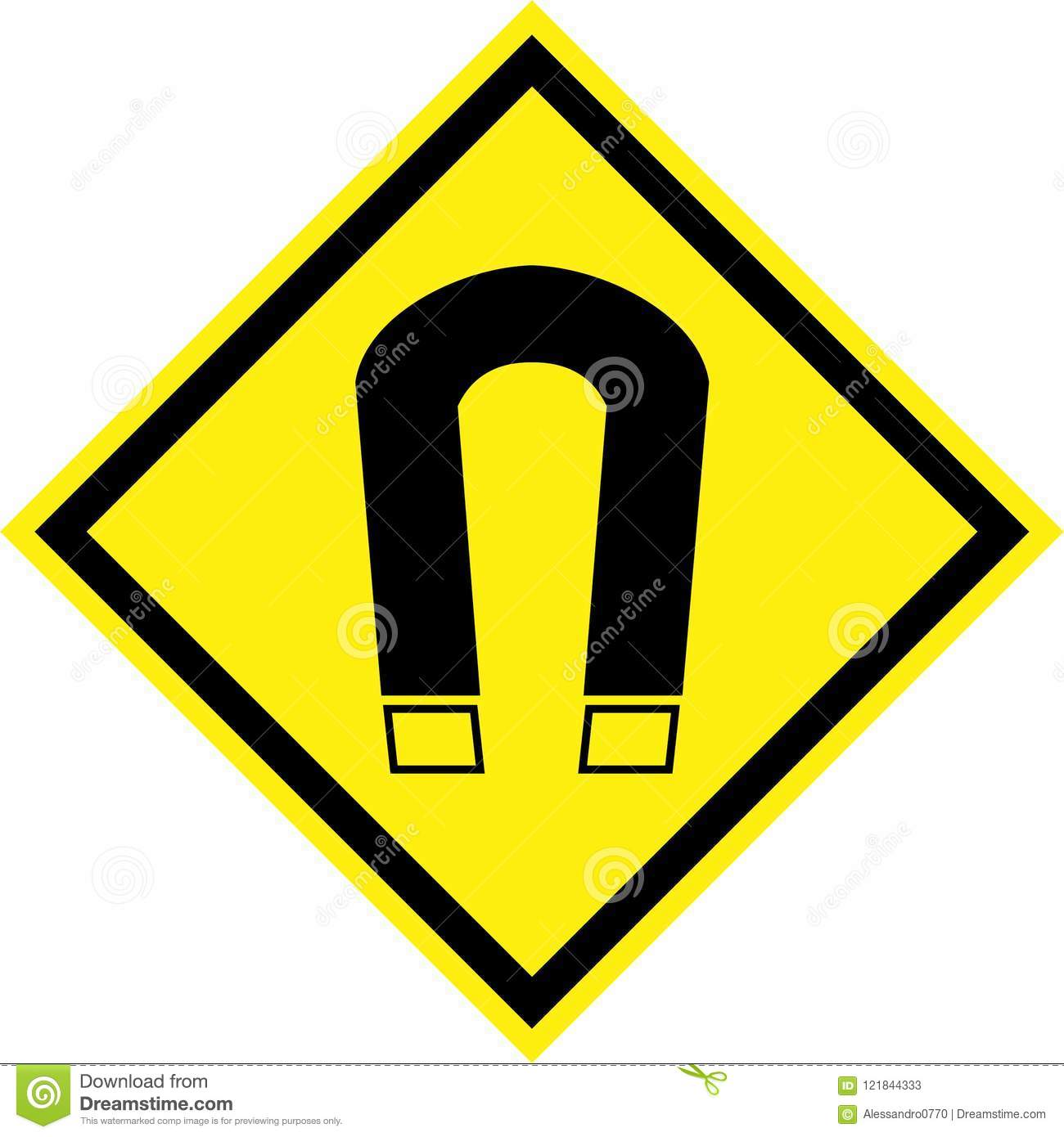 Yellow Hazard Sign With Magnetic Field Stock Illustration