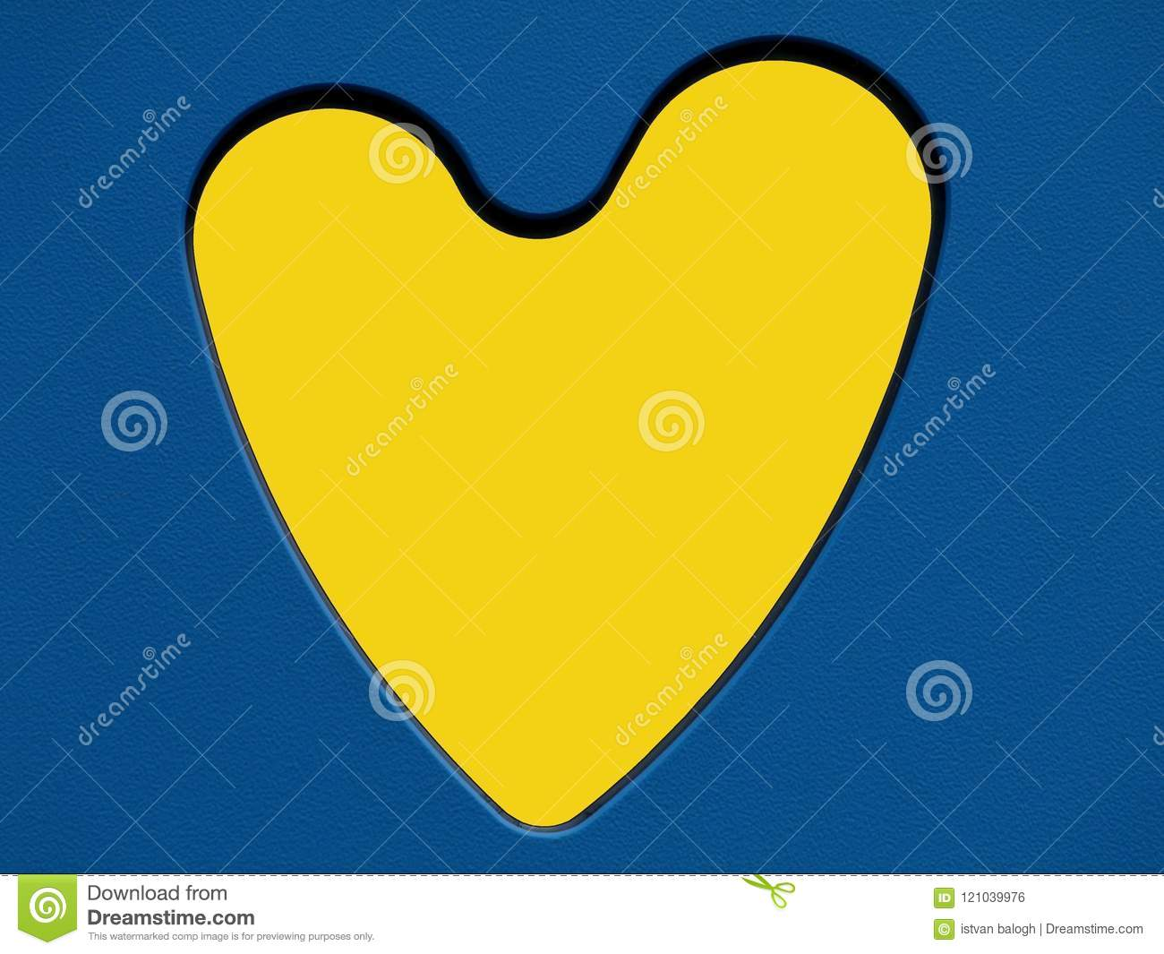 Yellow Heart Symbol In Blue Cut Out Toy Panel Stock Photo Image Of
