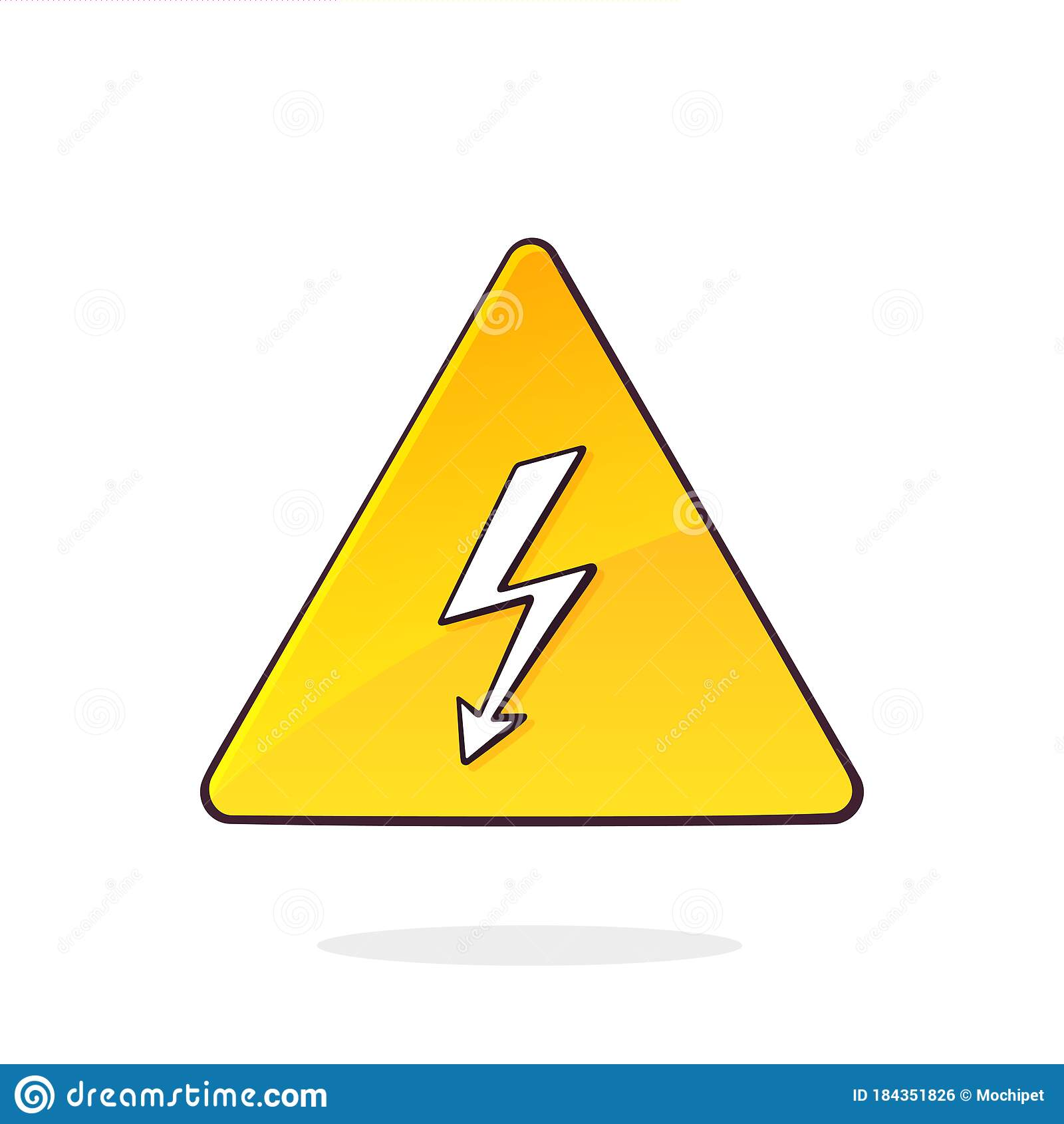 Yellow High Voltage Symbol With Electric Lightning. Triangular ...