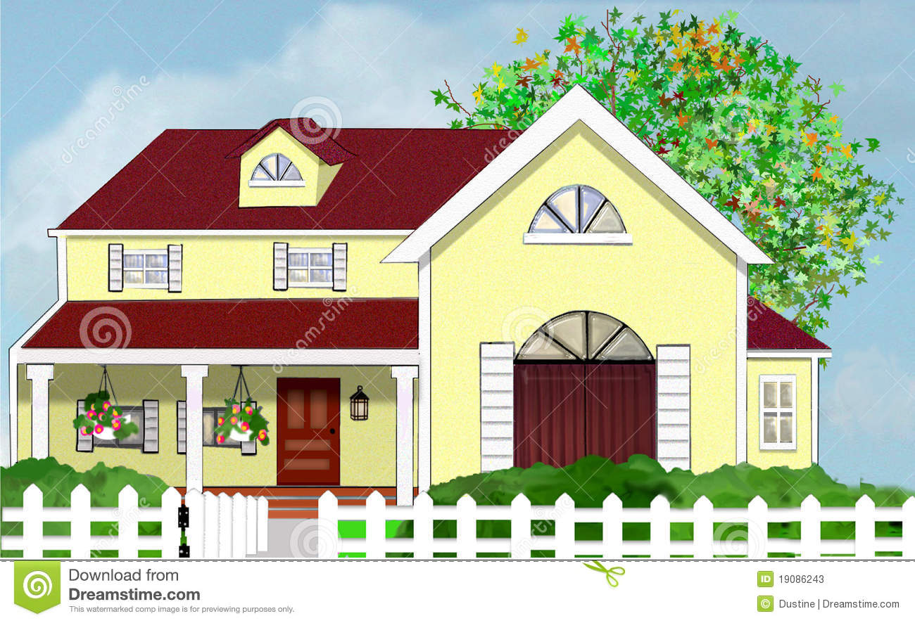 Yellow home house with tree and white picket fence stock for Picture of my home