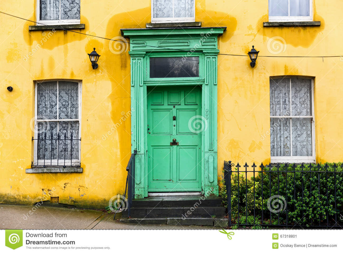 Yellow house with green front door stock image image of for Front door yellow house
