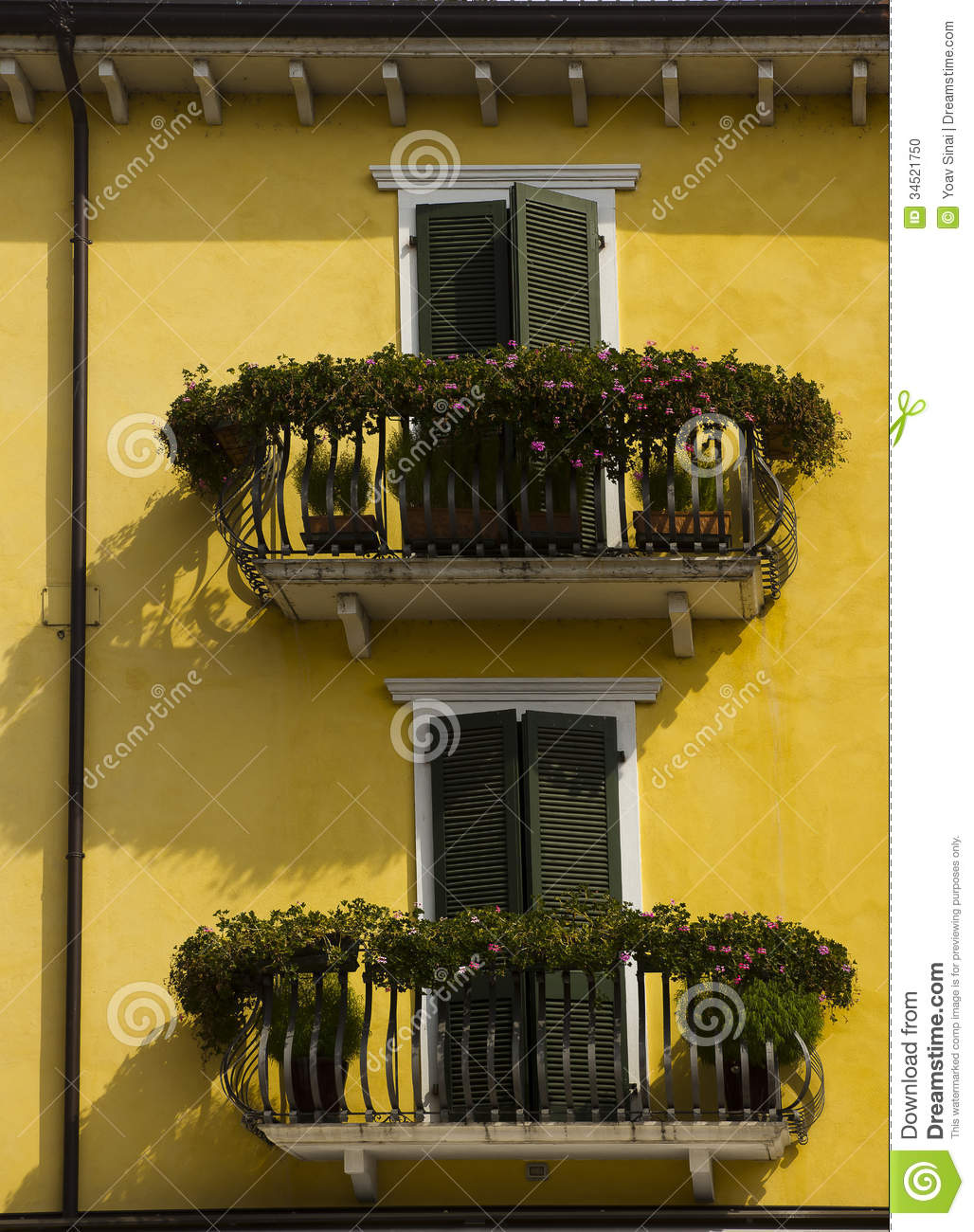 Yellow House Green Shutters Decorated Balconies Stock Photo - Image ...