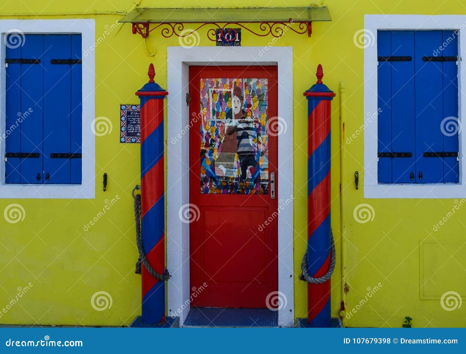 Yellow House With Red Door Stock Photo Image Of Door 107679398