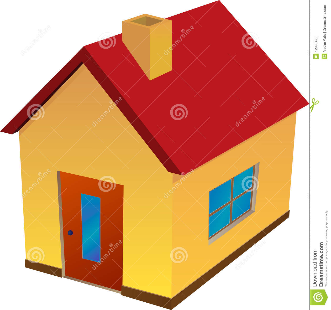 Yellow house with red roof stock photos image 12998493 for Yellow and red house