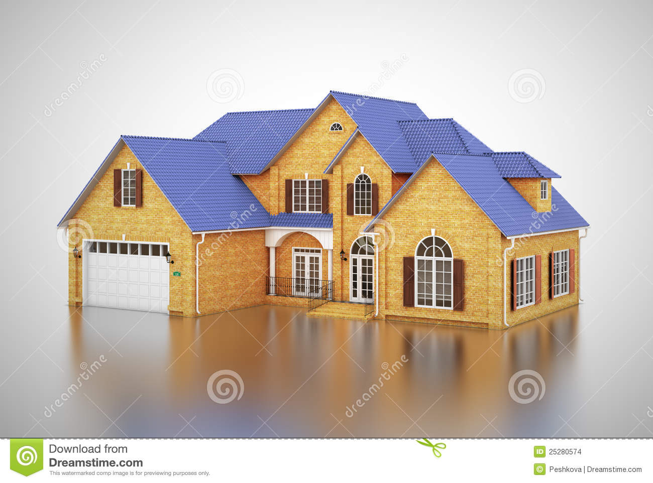 Yellow House Is Reflected Stock Illustration Image Of