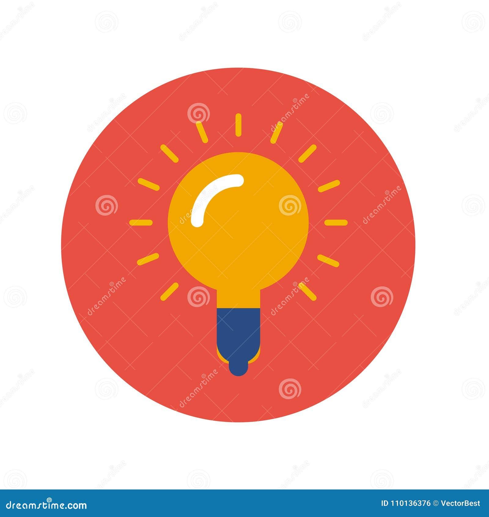 Yellow Lamp Icon On Red Background Stock Illustration Illustration