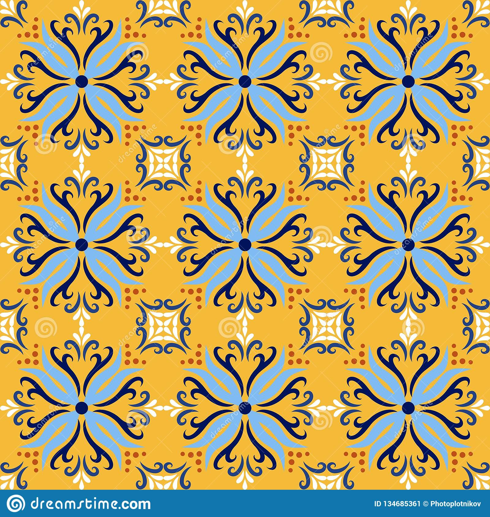 Yellow italian ceramic tile seamless pattern backgrounds. Traditional ornate talavera decorative color tiles azulejos