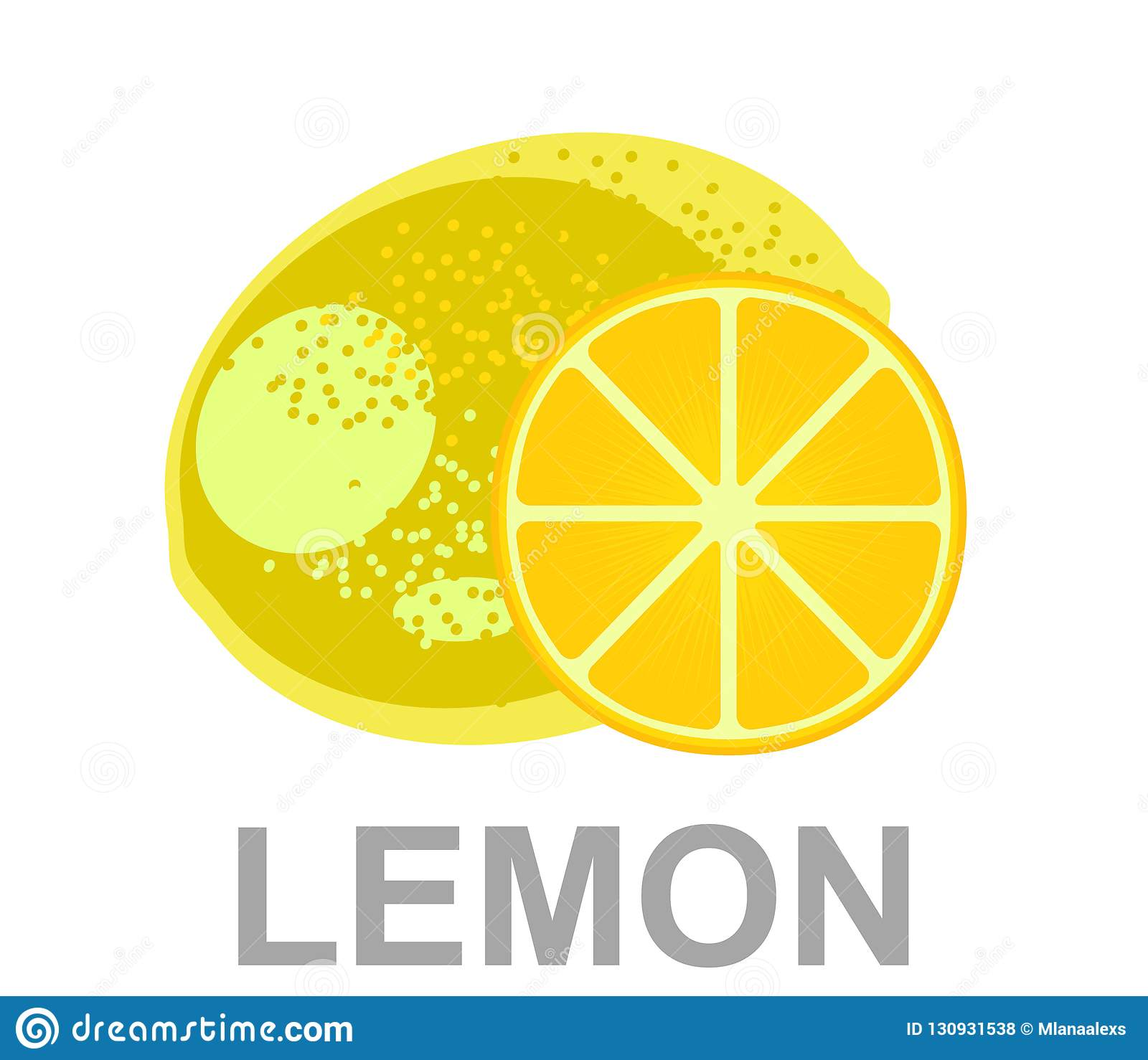 Yellow juicy lemon with a slice of lemon on the isolated white background.