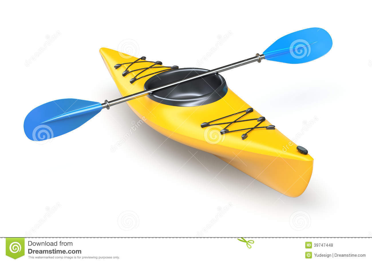 Yellow plastic kayak on white background - 3D illustration.