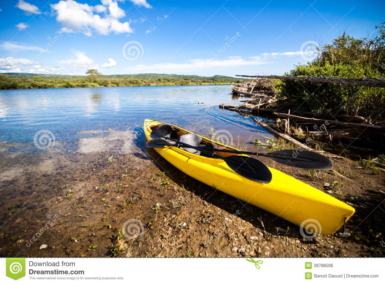 Yellow Kayak Ready To Be Used Stock Photo Image Of Sport