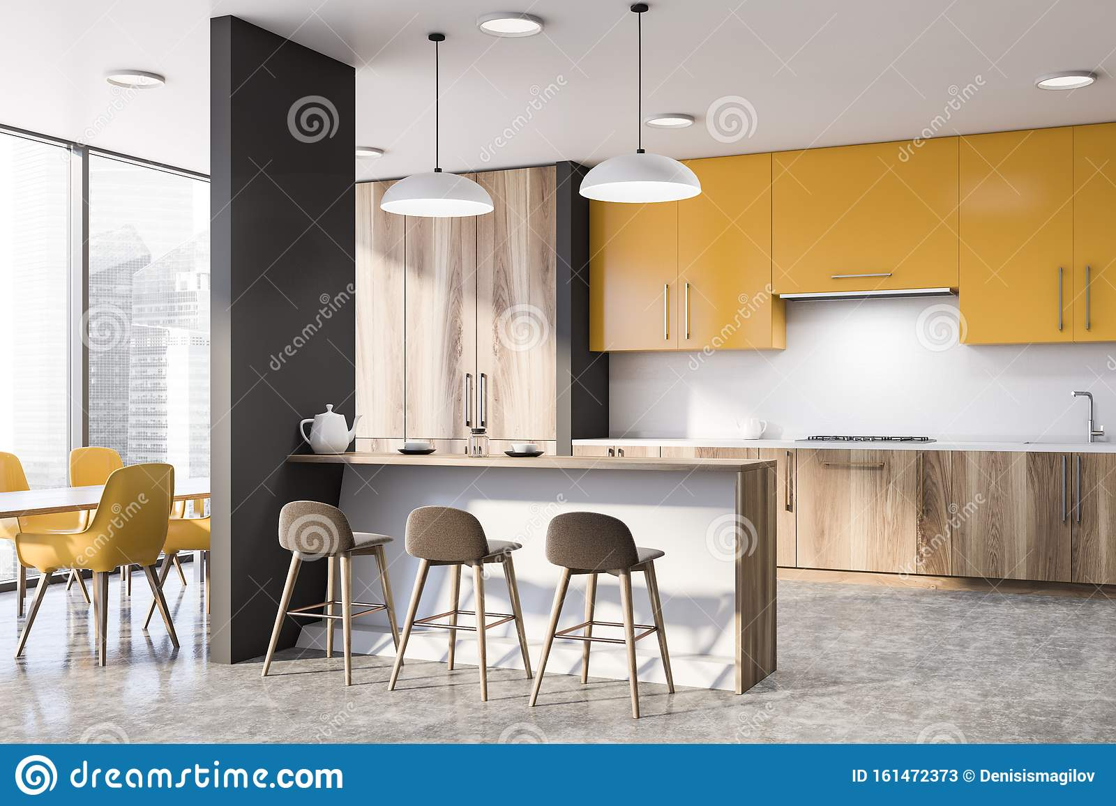 Yellow Kitchen Corner With Bar And Table Stock Illustration ...