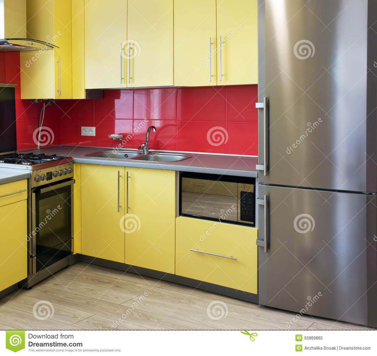 Yellow kitchen stock image. Image of interior, faucet - 55869865