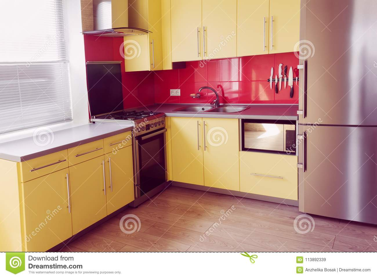 Yellow Kitchen With Red Tiles Stock Image - Image of ...