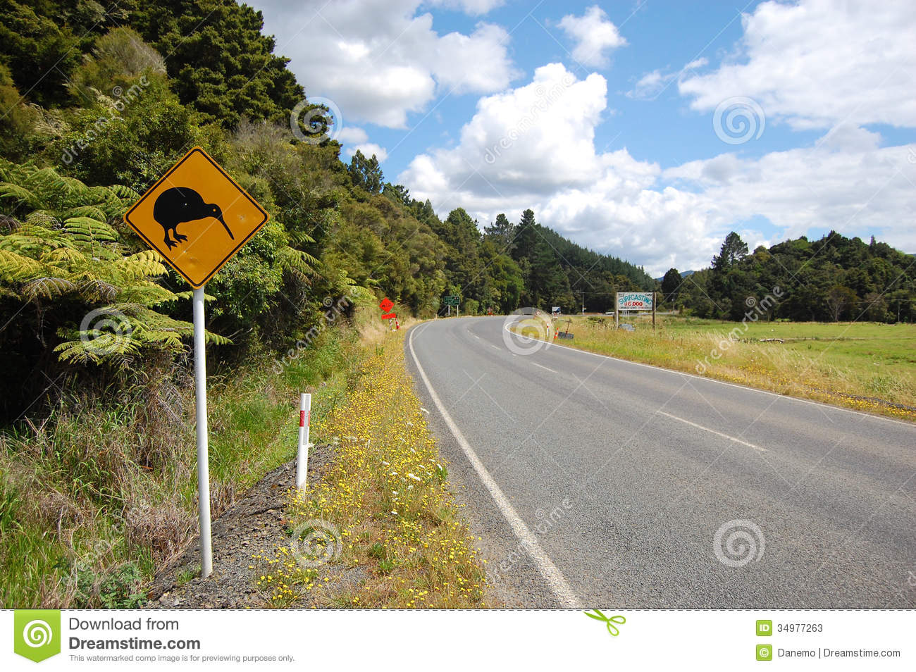 Yellow kiwi bird road sign at roadside