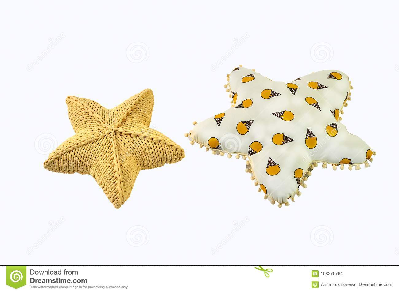 Yellow Knitted Five-pointed Star Shaped Pillow And Heart Shaped ...