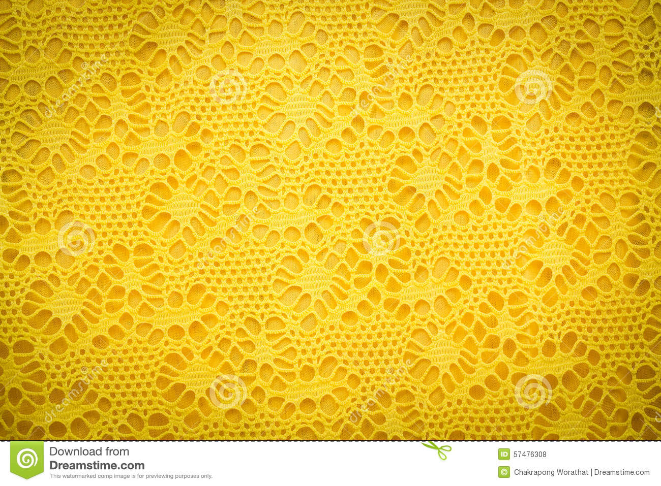 Yellow Lace Fabric Background Texture Stock Photo Image