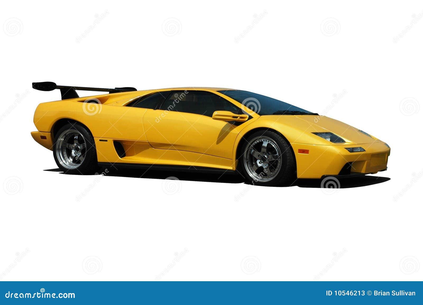 Yellow Lamborghini Side View Stock Image Image 10546213